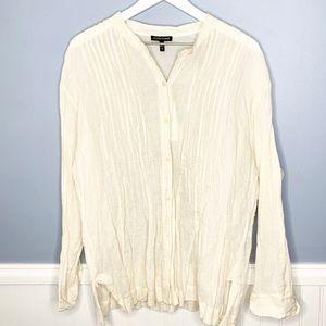 Eileen Fisher Cotton Button Down Top Bone Shirt